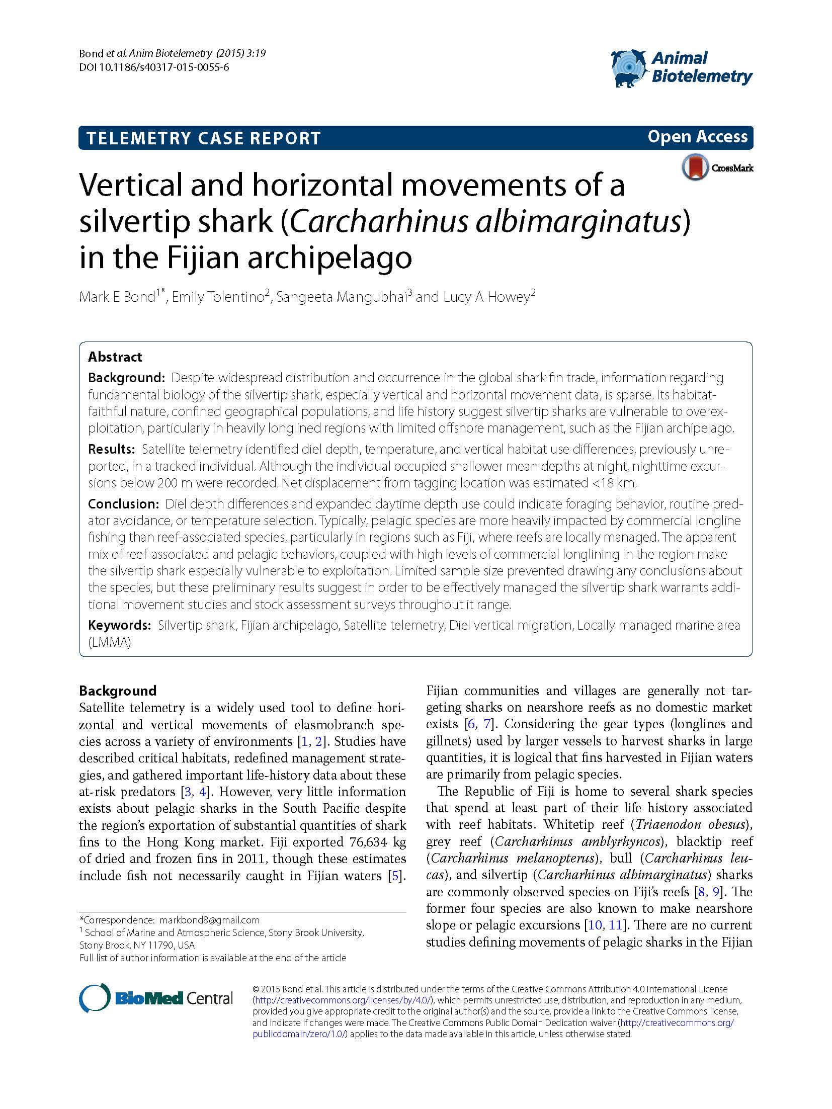 Vertical and Horizontal Movements of a Silvertip Shark (Carcharhinus Albimarginatus) in the Fijian Archipelago